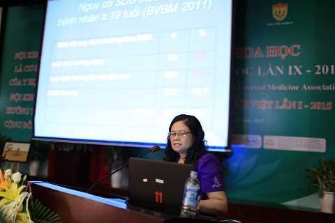 PGS.TS Nguyễn Thị Lâm, Phó viện trưởng viện dinh dưỡng quốc gia phát biểu tại hội nghị