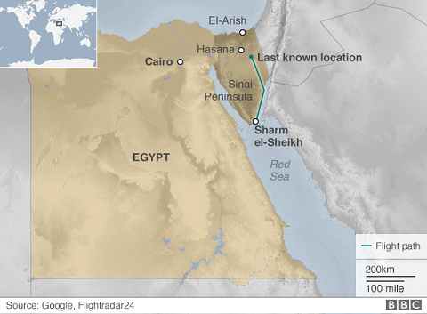 Bản đồ về lộ trình và vị trí máy bay Nga gặp nạn