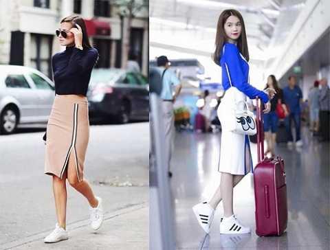 Váy bút chì dài xẻ tà giúp bạn di chuyển dễ dàng và năng động hơn khi phối cùng áo thun ôm tôn dáng.