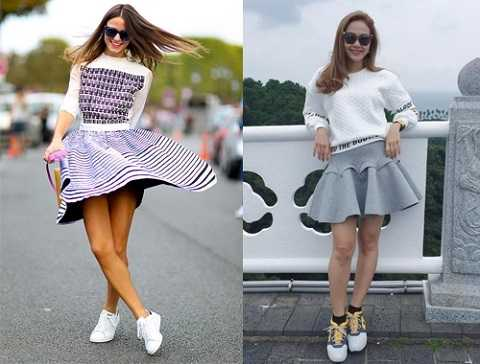 Bạn có thể phối váy xoè với áo sweater vô cùng khoẻ khoắn và đáng yêu.