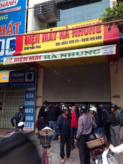 Cửa hàng điện máy nơi phát hiện thi thể 4 nạn nhân xấu số.