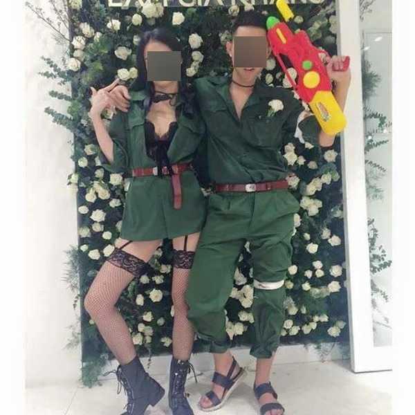 Hình ảnh hoá trang phản cảm của người mẫu Cao Thiên Trang và bạn bè.