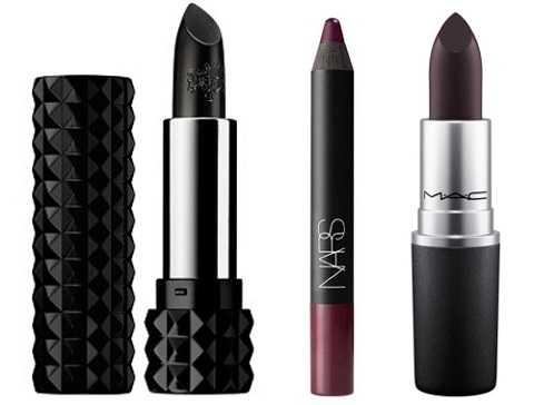 Từ trái qua: Son đen Kate Von D Studded Kiss Lipstick in Matte Pitch Black; Son dạng chì màu tím nhung Velvet Matte Lip Pencil in Train Bleu của Nars; Son tím đậm Lipstick in Which Witch của MAC.