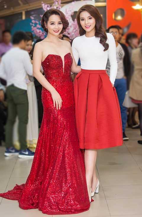 Kỳ Duyên có dịp gặp gỡ Mai Thu Huyền. Trong khi Hoa hậu Việt Nam 2014 kín đáo, nền nã, diễn viên