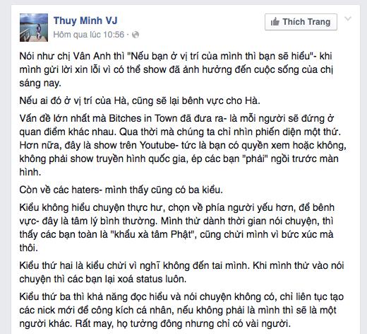 Chia sẻ về lời xin lỗi của MC Thuỳ Minh trên trang cá nhân.