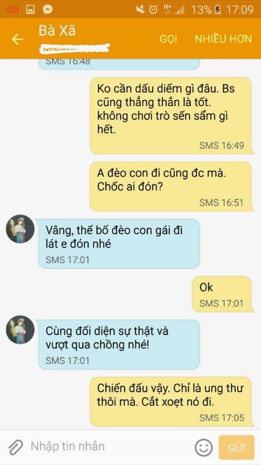 Lời động viên của bà xã Trần Lập