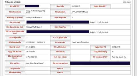 Thông tin về Công ty TNHH Apple Việt Nam trên website của Tổng cục thế - Ảnh chụp màn hình.