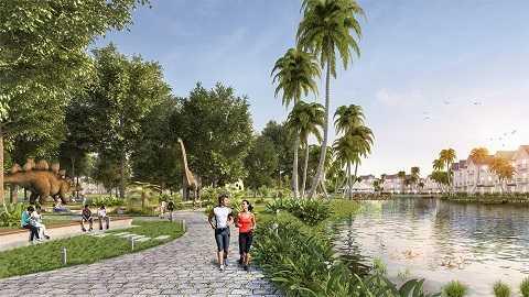 Công viên Khủng long – Một trong các hạng mục cảnh quan mới tại Vinhomes Riverside sẽ được triển khai vào cuối năm 2015.