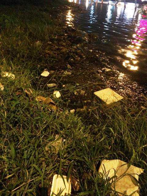 Rác thải, chất thải gây tắc nghẽn dòng chảy tại các kênh, rạch. Ảnh: Phan Cường