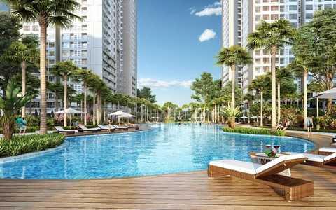 Không gian sống tại Park Hill PREMIUM mang phong cách sống resort với bể bơi dài 80m và hệ thống vườn đa dạng