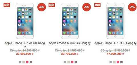 Giá bán iPhone 6S chính hãng tại một hệ thống bán lẻ ở Hà Nội. Ảnh chụp màn hình.