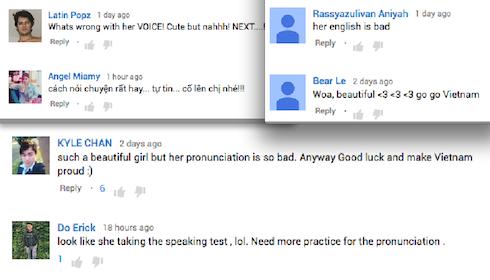Khán giả nước ngoài chê cách phát âm tiếng Anh của Lan Khuê.