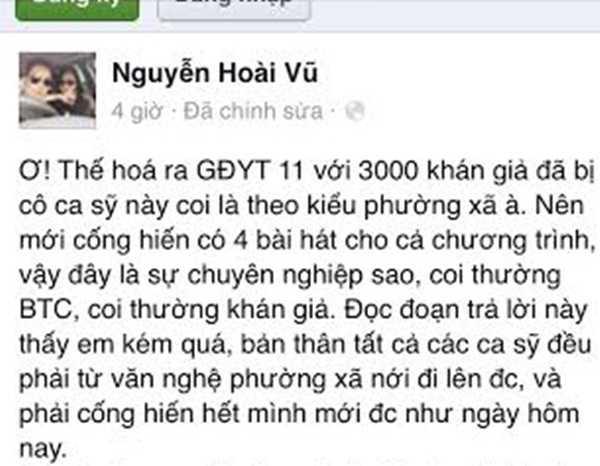 Bầu show Nguyễn Hoài Vũ tranh thủ lên tiếng