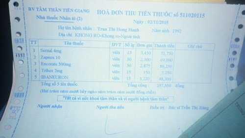 Hóa đơn tiền thuốc minh chứng Hồng Hạnh mắc tâm thần mà người nhà đưa ra.