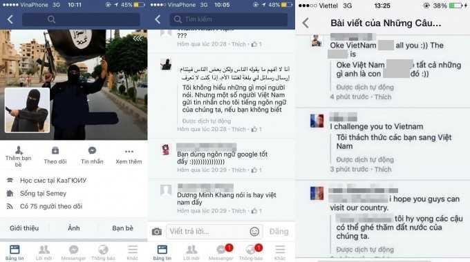 Những lời thách thức IS đến Việt Nam của một số người trên Facebook có tên Timur Zhunusov