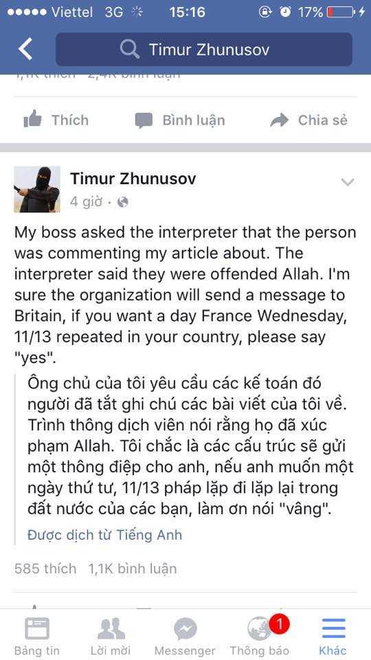 Facebook Timur Zhunusov đầu tiên đã bị xóa