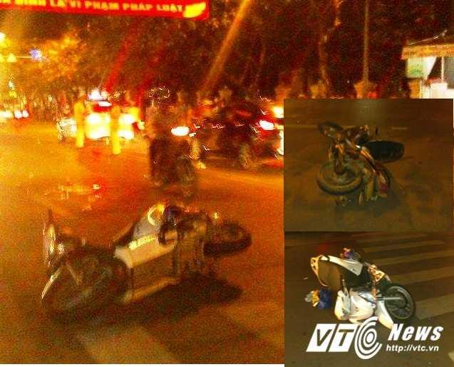 Hiện trường và hai xe máy trong vụ tai nạn (ảnh nhỏ).