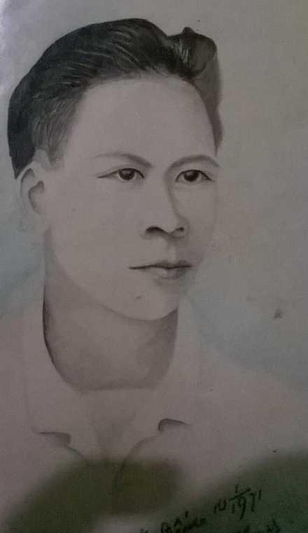 Bức chân dung còn lại của người liệt sĩ Nguyễn Thanh Chữ bị xẻo thịt, rán mỡ tại Đồng Văn, năm 1959