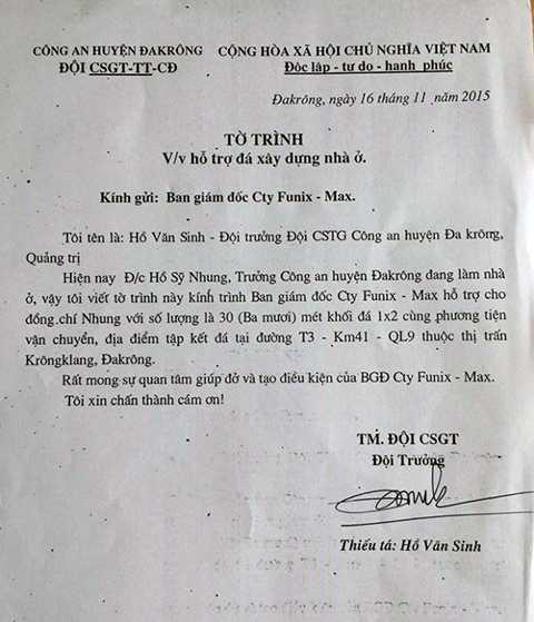 Văn bản do ông Hồ Văn Sinh gửi đến doanh nghiệp xin hỗ trợ đá cho trưởng công an huyện làm nhà - Ảnh: Q.N