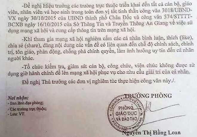Văn bản cấm giáo viên, học sinh bình luận, chia sẻ…của Phòng GD&ĐT TP Châu Đốc
