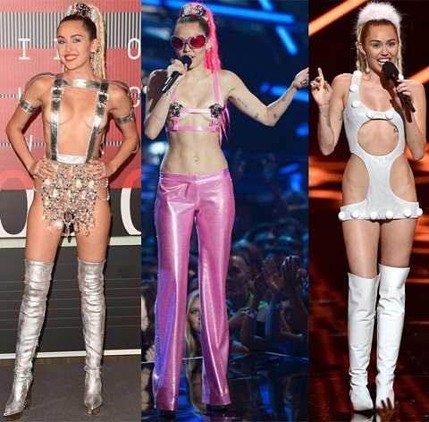 Những thiết kế táo bạo của nhà Versace dành cho Miley Cyrus trên sâu khấu củaMTV Video Music Awards 2015.