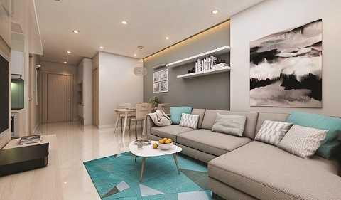 Thiết kế phòng khách tại căn hộ mẫu Xuan Mai Sparks Tower