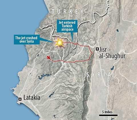 Bản đồ cho thấy vị trí chiếc máy bay Nga bị bắn hạ còn cách khá xa không phận Thổ Nhĩ Kỳ