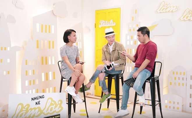 MC Thùy Minh, stylist Lê Minh Ngọc và nhà văn Nguyễn Ngọc Thạch trong một chương trình Những kẻ lắm lời.