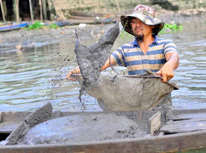 Nghề vất vả, phải tiếp xúc với nước bẩn nhưng ngư dân vẫn gắn bó và làm việc chăm chỉ để kiếm tiền nuôi gia đình. Bất kể nắng mưa, ngày đêm, mỗi khi thủy triều rút, họ lại