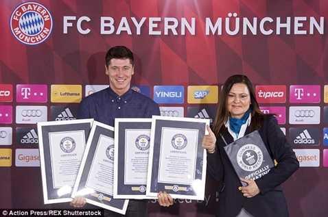 Lewandowski hớn hở nhận kỷ lục Guinness