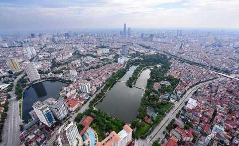 Toàn cảnh thành phố Hà Nội nhìn từ trên cao