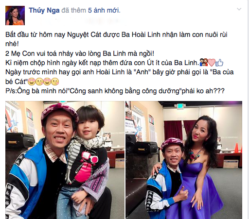 Hoài Linh nhận con gái Thúy Nga làm con nuôi.