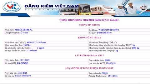 Thông tin về biển số 51F 666.66 trên trang chính thức Cục đăng kiểm Việt Nam