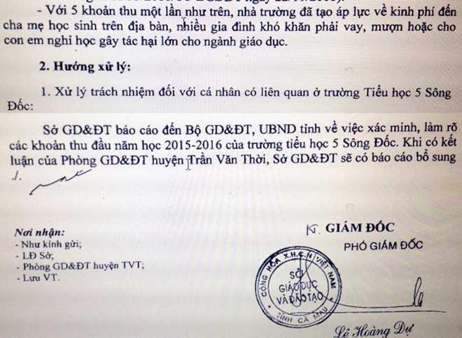 Báo cáo của Sở GD&ĐT Cà Mau nêu việc làm sai của Trường tiểu học 5 Sông Đốc. Ảnh: Việt Tường.