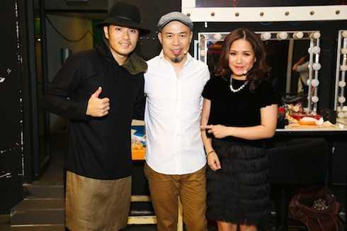 Alex Tú, Huy Tuấn và Thuỳ Chi trong hậu trường.