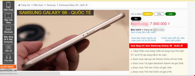 Giá Samsung Galaxy S6 hàng xách tay có giá thấp hơn cả giá đã giảm của Lazada.