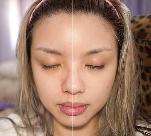 Trước và sau khi dùng CC Cream.