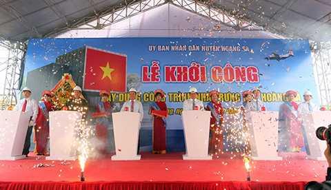 Sáng 7/12, UBND huyện Hoàng Sa (Đà Nẵng) đã tổ chức Lễ khởi công xây dựng Nhà trưng bày Hoàng Sa trên diện tích 1.248m2 tại nút giao thông ngã ba Hoàng Sa - Phan Bá Phiến.