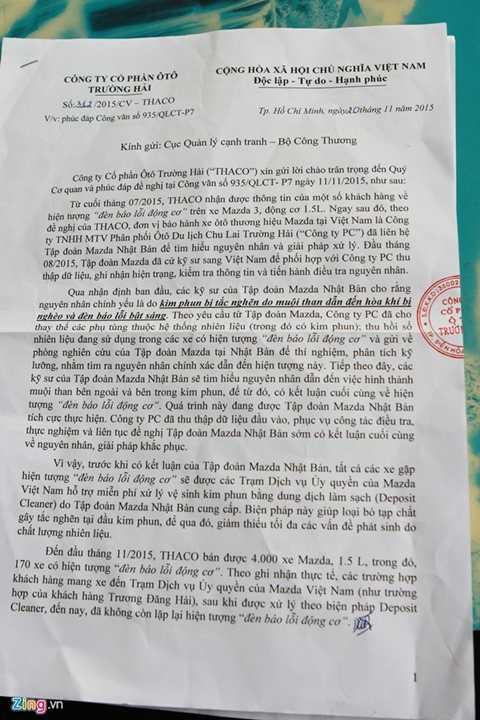 Văn bản của Thaco gửi Cục quản lý cạnh   tranh Bộ Công Thương cho biết có 170 xe gặp hiện tượng đèn báo lỗi động   cơ. Ảnh: Hân Nguyễn.
