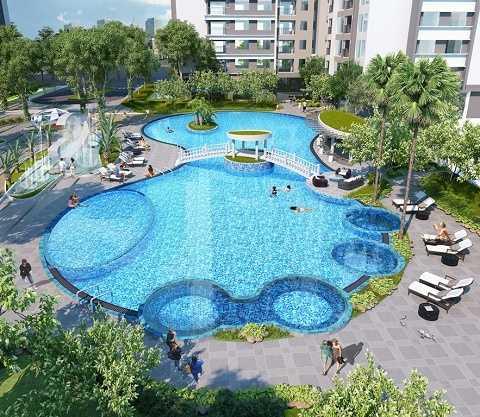 Bể bơi Sapphire – bể bơi hoàng gia, mềm mại, uốn lượn, có thiết kế sáng tạo với nhiều khu vực phù hợp cho các lứa tuổi khác nhau, có bể sục hiện đại.