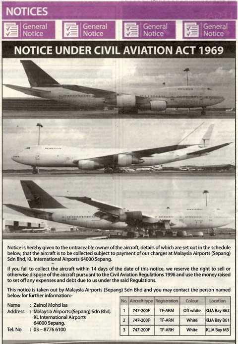 3 máy bay vận tải Boeing 747-200F được đăng tin tìm chủ sở hữu trên nhật báo Star của Malaysia
