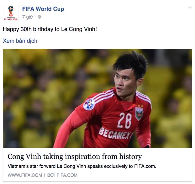 FIFA chúc mừng sinh nhật Công Vinh
