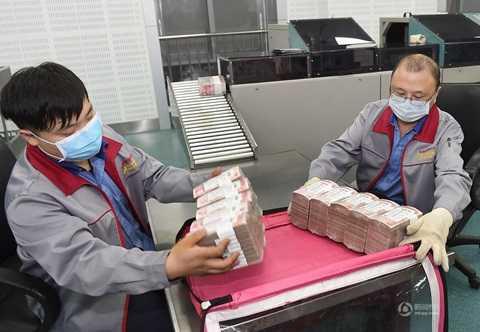 Các nhân viên đóng tiền thành từng cọc để đưa đi xử lý