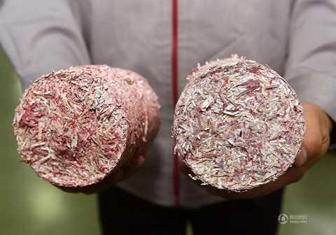 Các tờ tiền sau khi được xử lý thành nhiều mảnh vụn. Đây là nguyên liệu cho các nhà máy bột giấy hoặc đốt để tạo ra điện.