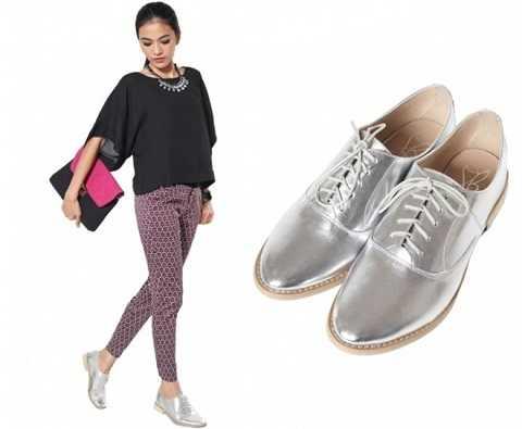 Giày Oxford mang đậm phong cách tomboy với màu ánh vàng, bạc tạo nên sự mới lạ, phá cách mạnh mẽ cho các nàng.
