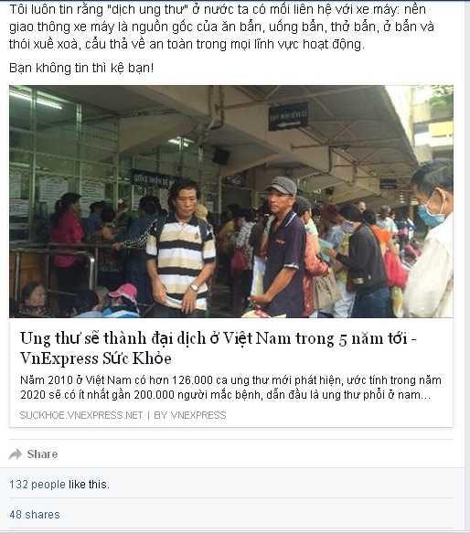 Tiến sỹ Lương Hoài Nam bày tỏ quan điểm về mối liên hệ giữa bệnh ung thư và xe máy. (Ảnh chụp màn hình)