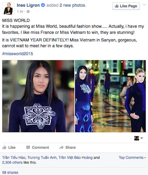 Ines Ligron mong Lan Khuê giành ngôi Hoa hậu Thế giới 2015.