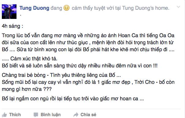 Tùng Dương chia sẻ trên trang cá nhân.