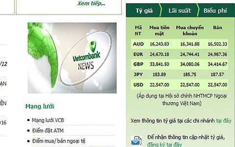 Giá mua vào USD đã san bằng giá bán ra và   cùng kịch trần biên độ cho phép trên biểu niêm yết trực tuyến của   Vietcombank cuối giờ sáng nay.