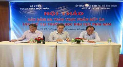 Lãnh đạo cục ATTP, Sở y tế TP Cần Thơ, Viện Y tế công cộng TPHCM chủ trì thảo luận